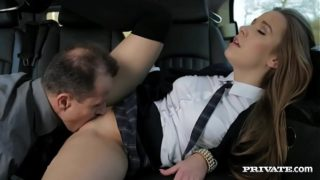 Horny schoolgirl taboo sex with stepdad after school in car